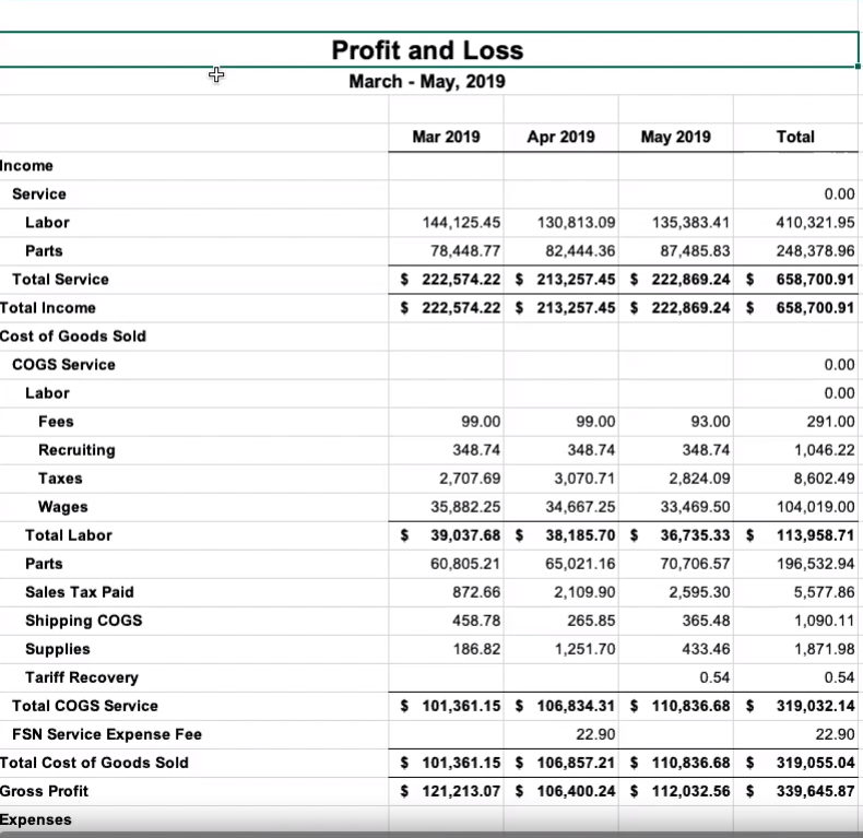 Profit and Loss Statement